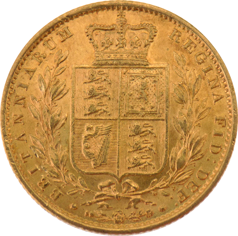 Pre-Owned 1857 London Mint Victoria Young Head Shield Full Sovereign Gold Coin (Image 2)