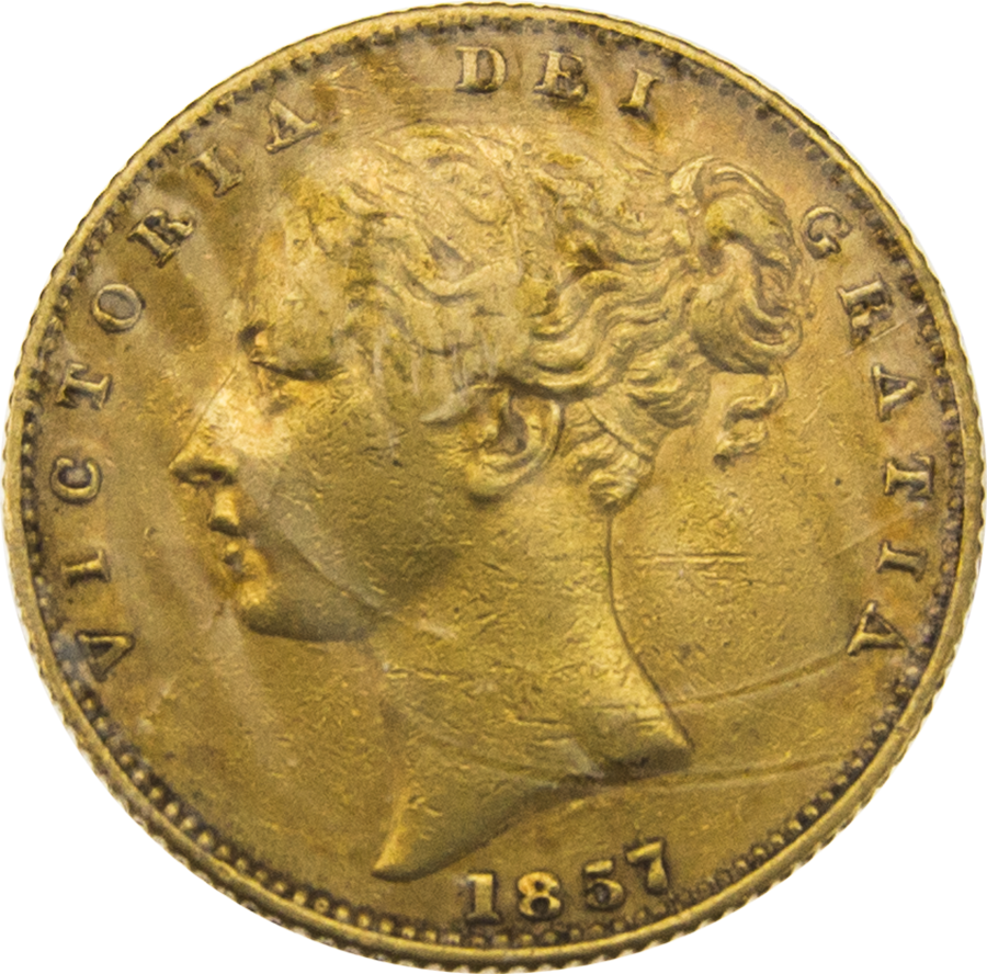 Pre-Owned 1857 London Mint Victorian Young Head 'Shield' Full Sovereign Gold Coin (Image 1)