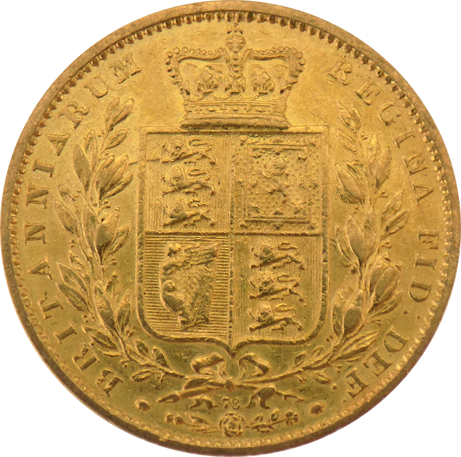 Pre-Owned 1864 London Mint DN.78 Victorian 'Shield' Full Sovereign Gold Coin (Image 2)