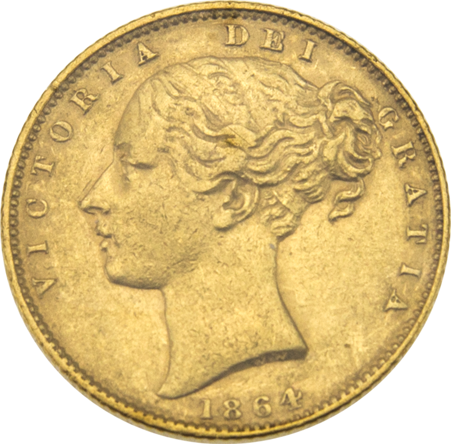 Pre-Owned 1864 London Mint DN.33 Victorian 'Shield' Full Sovereign Gold Coin