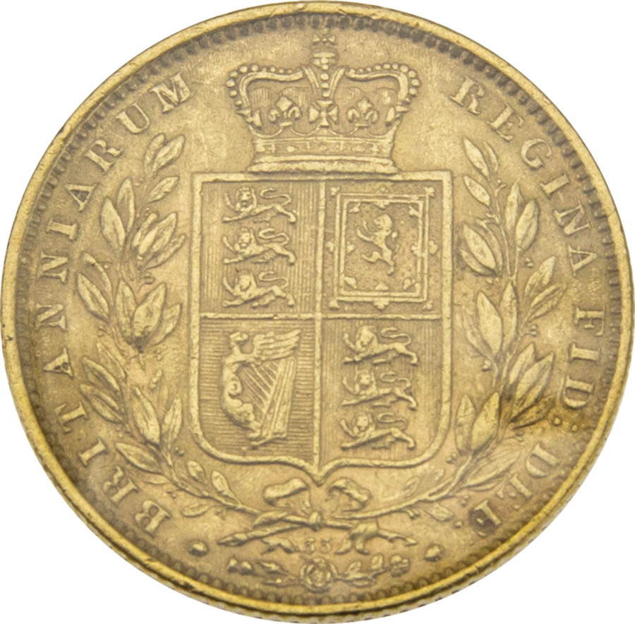 Pre-Owned 1864 London Mint DN.33 Victorian 'Shield' Full Sovereign Gold Coin (Image 2)
