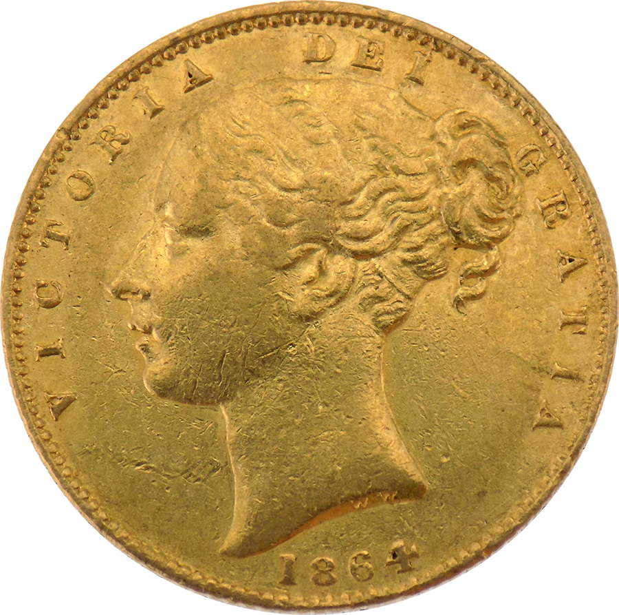 Pre-Owned 1864 London Mint DN.102 Victorian 'Shield' Full Sovereign Gold Coin (Image 1)