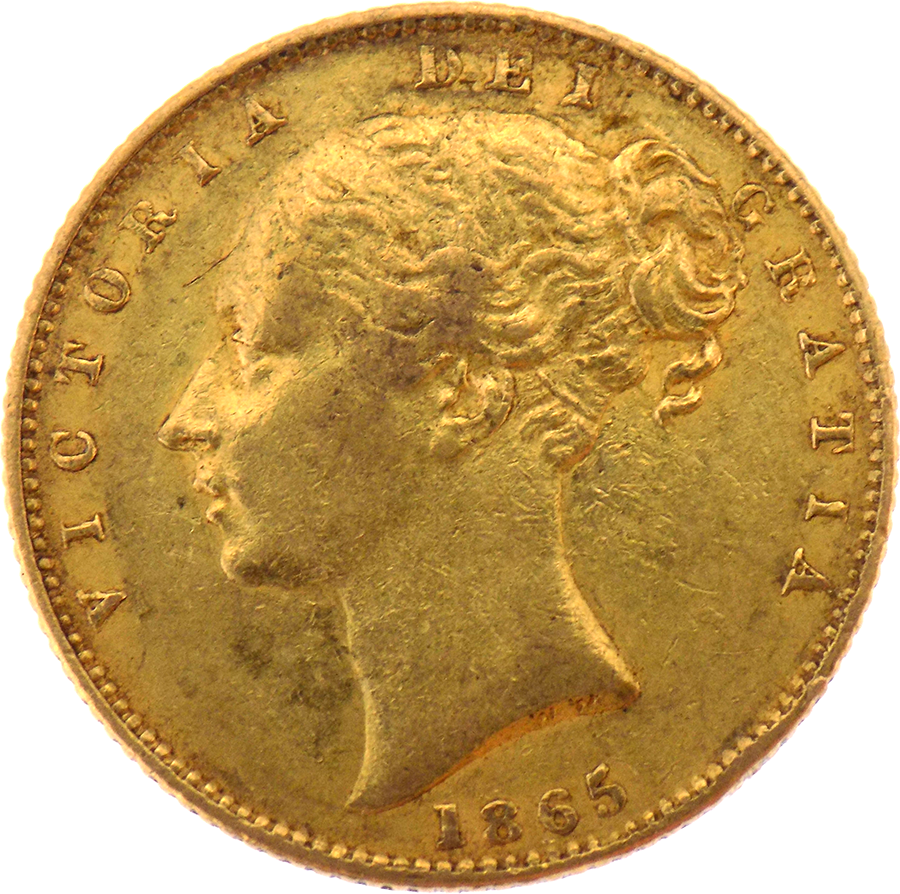 Pre-Owned 1865 London Mint DN.28 Victorian 'Shield' Full Sovereign Gold Coin (Image 1)