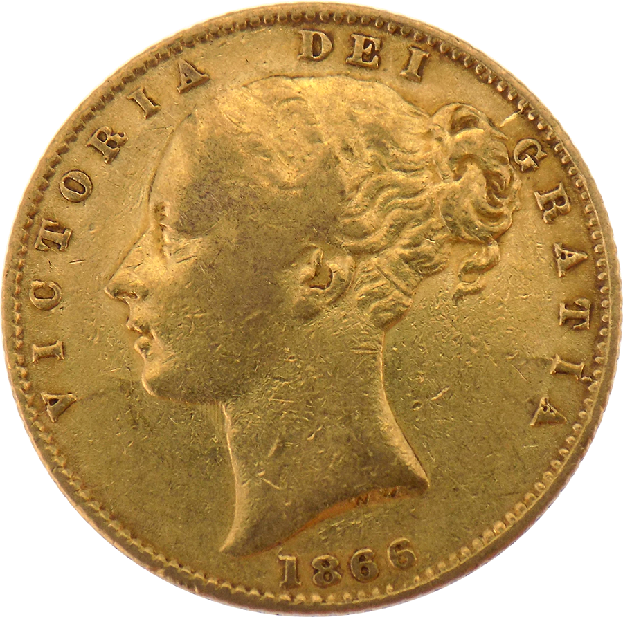 Pre-Owned 1866 London Mint DN.54 Victorian 'Shield' Full Sovereign Gold Coin (Image 1)