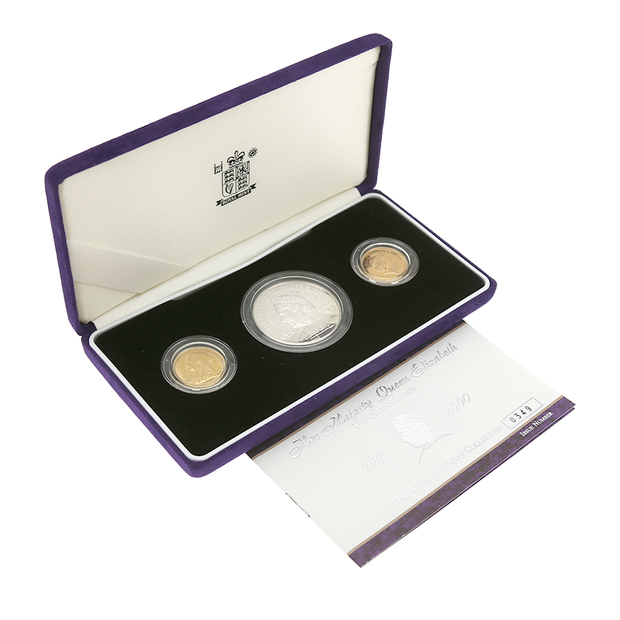 Pre-Owned 2000 UK Queen Mother Royal Birthday Gold & Silver 3-Coin Collection