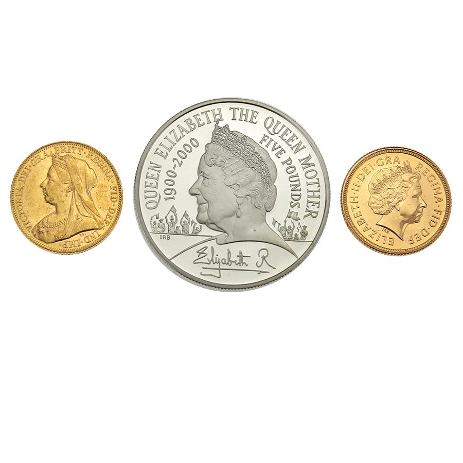 Pre-Owned 2000 UK Queen Mother Royal Birthday Gold & Silver 3-Coin Collection (Image 2)