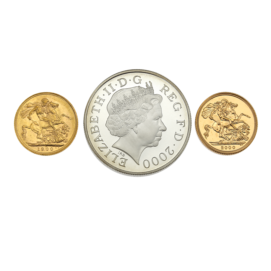 Pre-Owned 2000 UK Queen Mother Royal Birthday Gold & Silver 3-Coin Collection (Image 3)