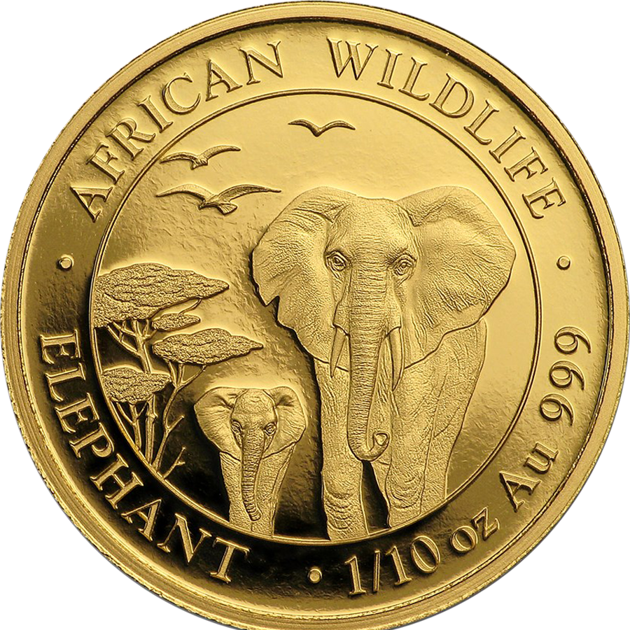 Pre-Owned Somalian Elephant 1/10oz Gold Coin - Mixed Dates