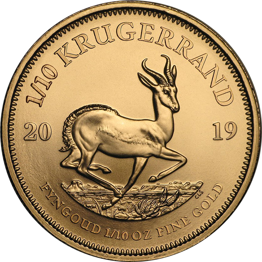 2019 South African Krugerrand 1/10oz Gold Coin