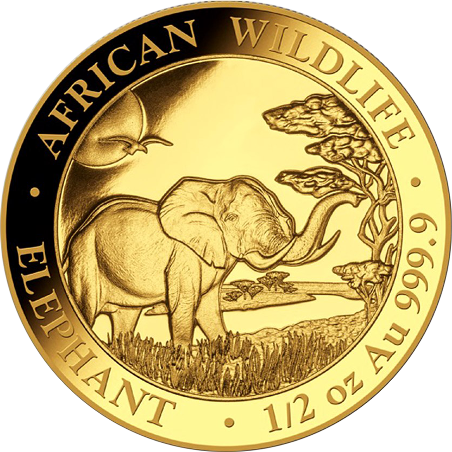 2019 Somalian Elephant 1/2oz Gold Coin