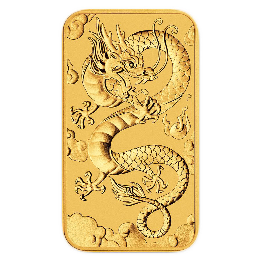 2019 Australian Dragon Rectangular 1oz Gold Coin (Image 1)