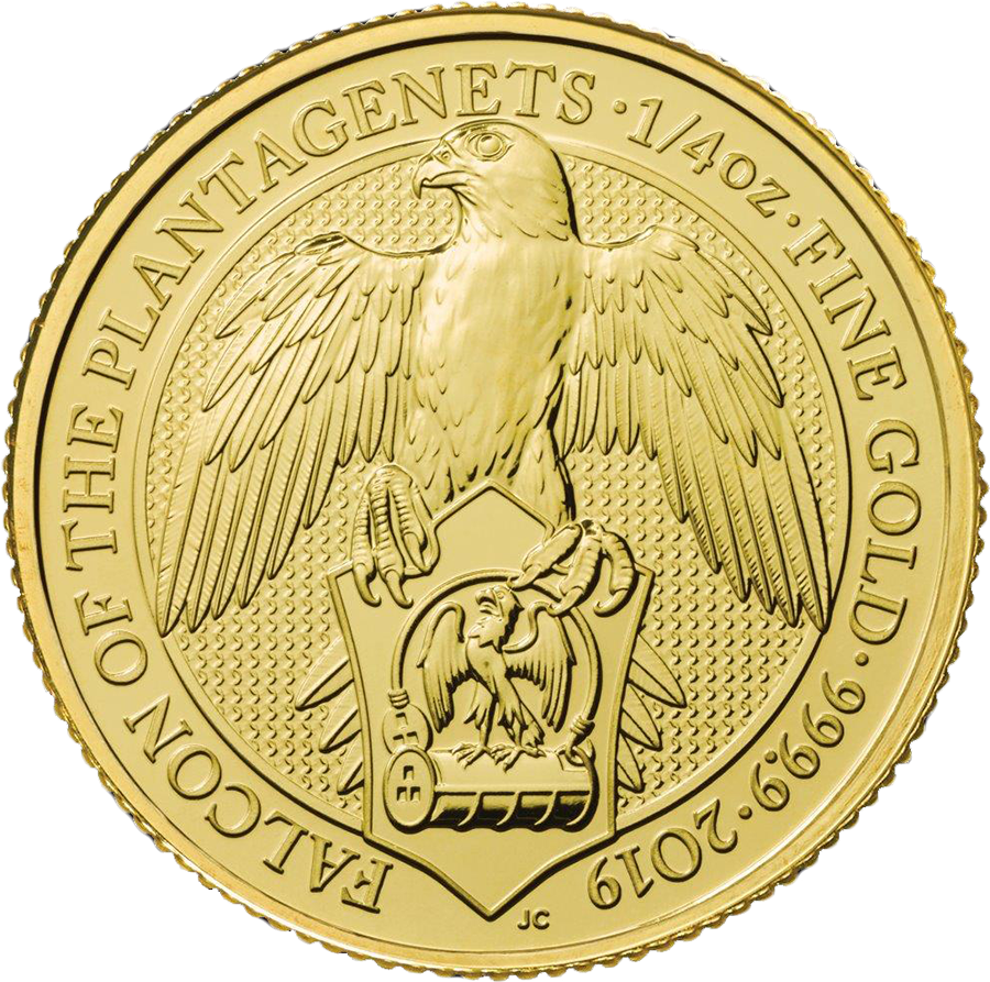 Pre-Owned 2019 UK Queen's Beasts Falcon of the Plantagenets 1/4oz Gold Coin