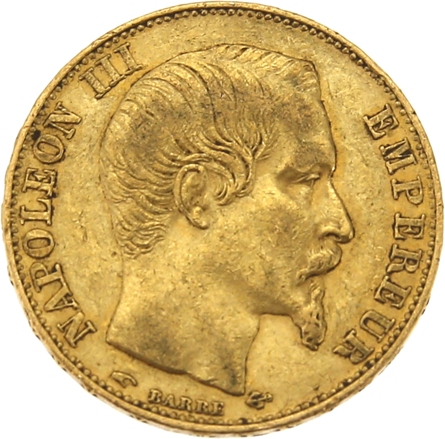 Pre-Owned 1857 French Napoleon Wreath 20 Franc Gold Coin