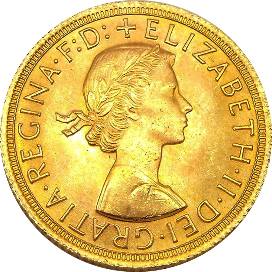 Pre-Owned Elizabeth II First Portrait Full Sovereign Gold Coin - Mixed Dates