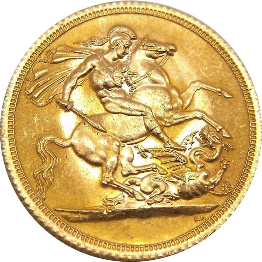 Pre-Owned Elizabeth II First Portrait Full Sovereign Gold Coin - Mixed Dates (Image 2)