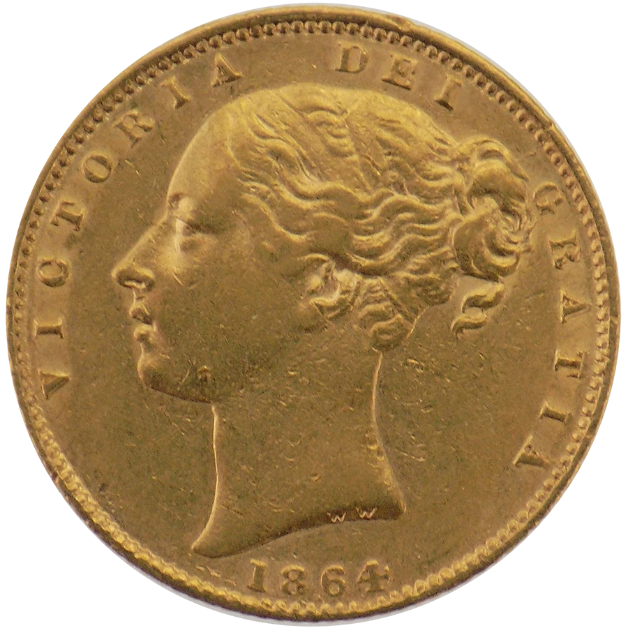 Pre-Owned 1864 London Mint DN.105 Victorian 'Shield' Full Sovereign Gold Coin