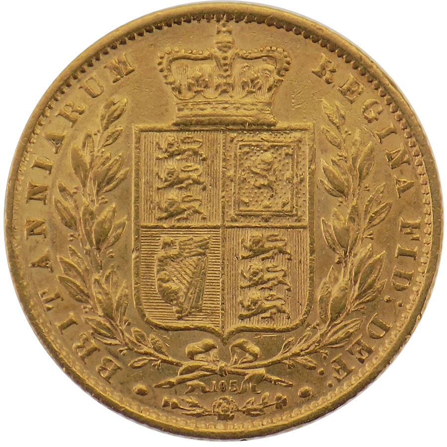 Pre-Owned 1864 London Mint DN.105 Victorian 'Shield' Full Sovereign Gold Coin (Image 2)