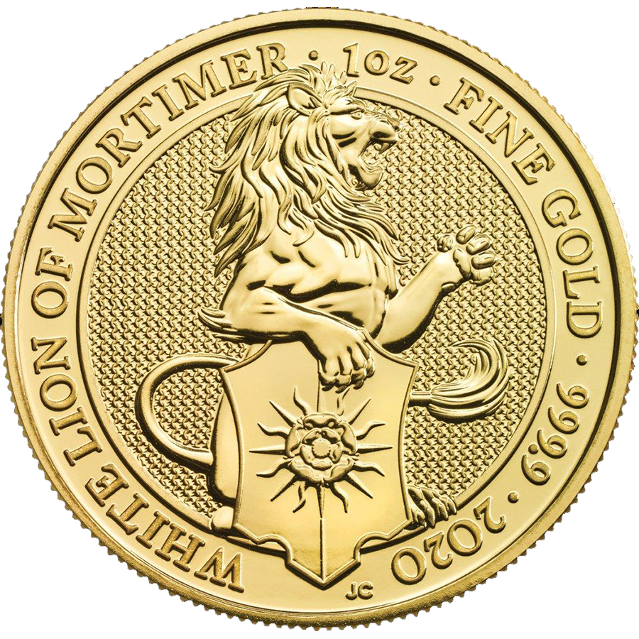 2020 UK Queen's Beasts The White Lion of Mortimer 1oz Gold Coin