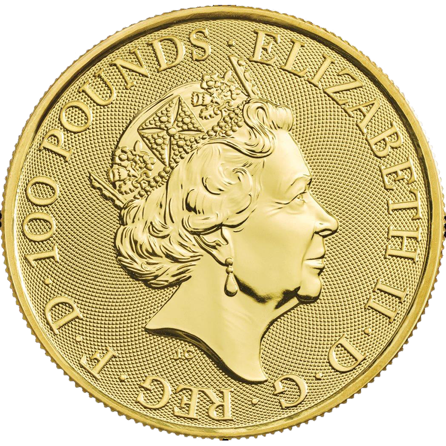 2020 UK Queen's Beasts The White Lion of Mortimer 1oz Gold Coin (Image 2)