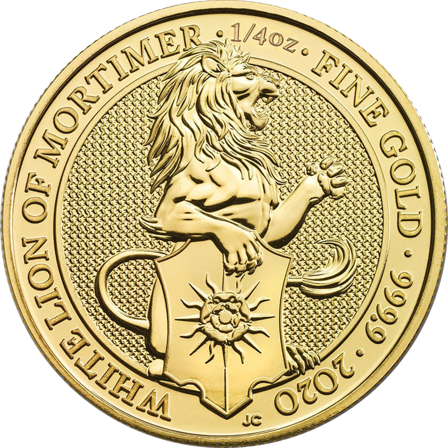 2020 UK Queen's Beasts The White Lion of Mortimer 1/4oz Gold Coin (Image 1)