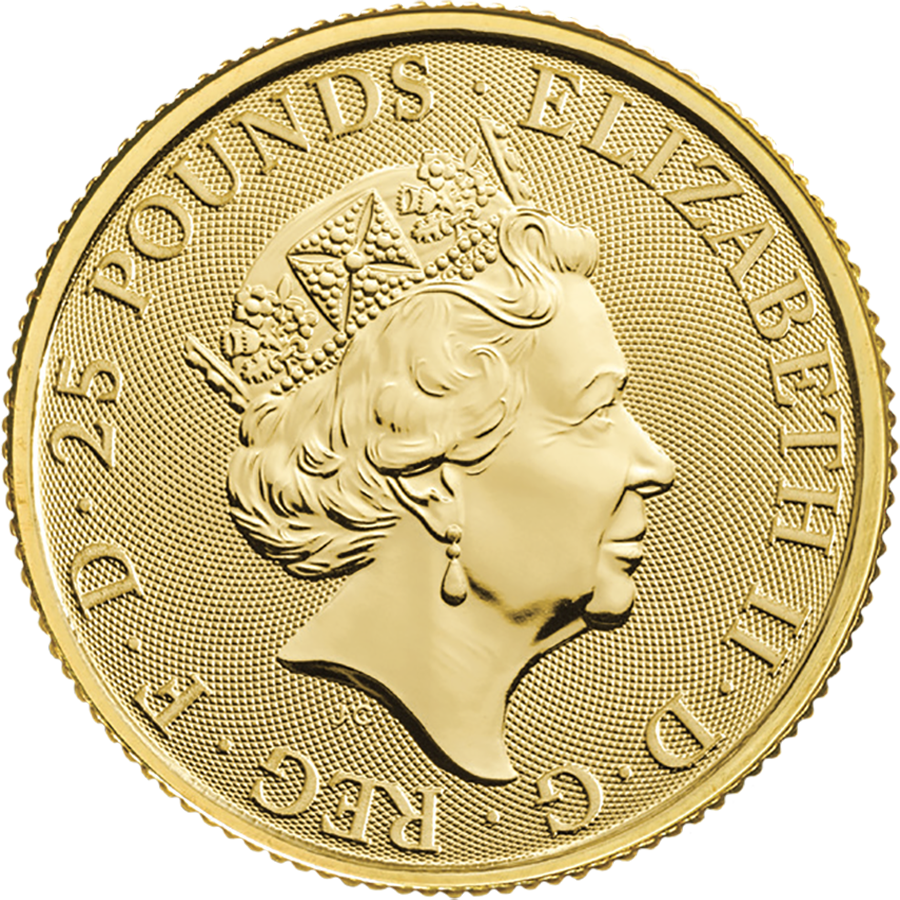 2020 UK Queen's Beasts The White Lion of Mortimer 1/4oz Gold Coin (Image 2)