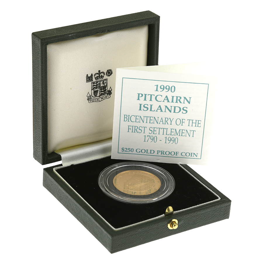 Pre-Owned 1990 Pitcairn Islands First Settlement $250 Gold Proof Coin