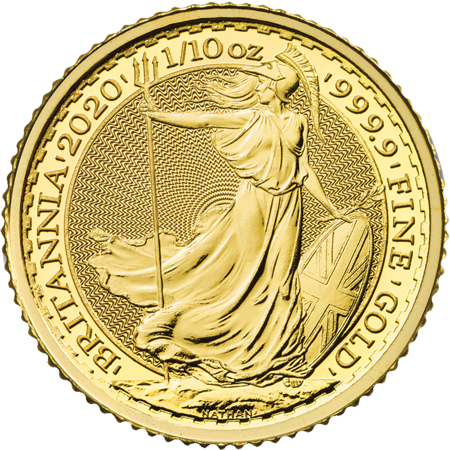 2020 UK Britannia 1/10oz Gold Coin (Image 1)