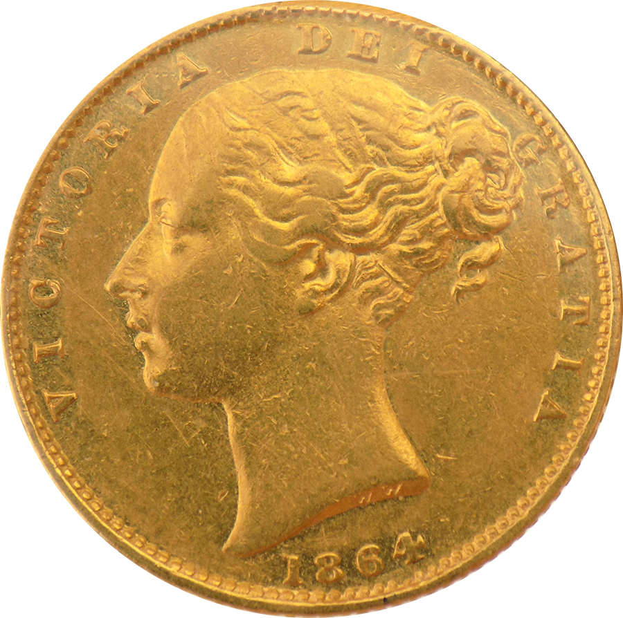 Pre-Owned 1864 London Mint DN.61 Victorian 'Shield' Full Sovereign Gold Coin (Image 1)