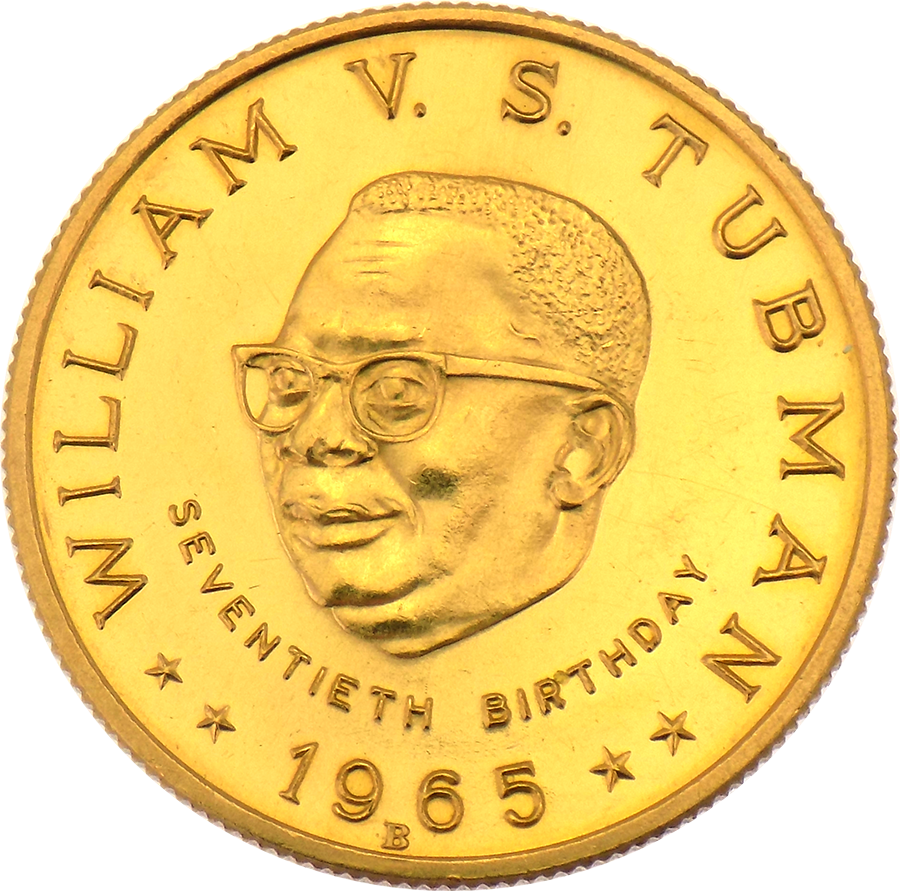 1965 Republic of Liberia William V. S. Tubman 70th Birthday $25 Gold Coin