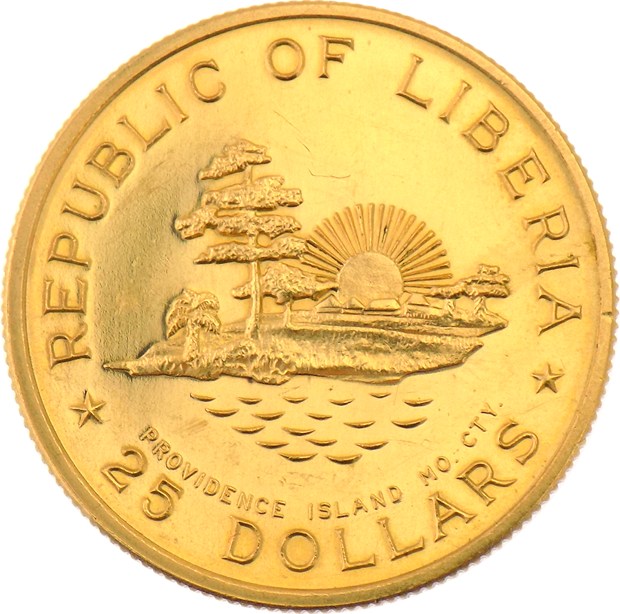 1965 Republic of Liberia William V. S. Tubman 70th Birthday $25 Gold Coin (Image 2)