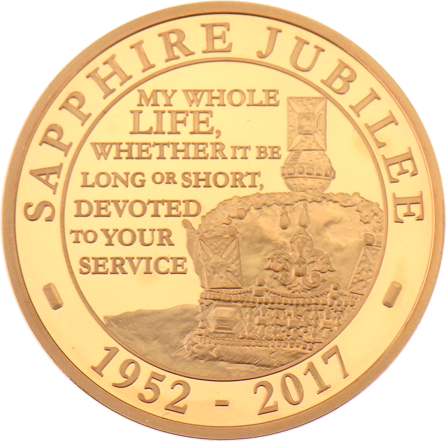 Pre-Owned 2017 UK Sapphire Jubilee Of Her Majesty £5 Gold Proof Coin (Image 2)