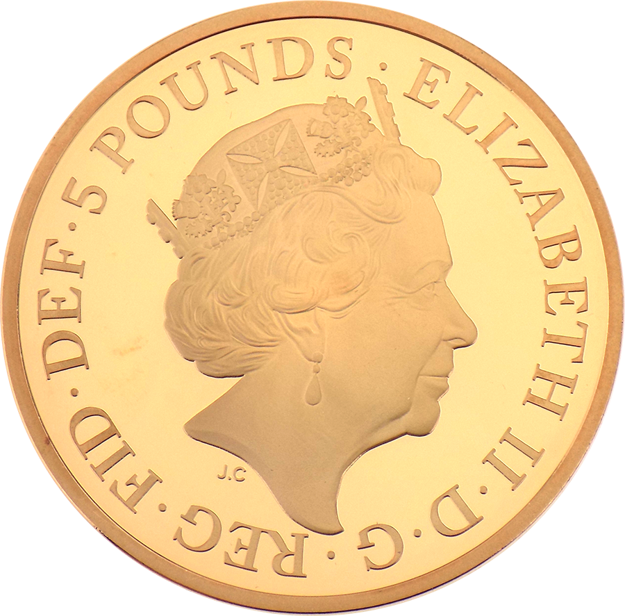 Pre-Owned 2017 UK Sapphire Jubilee Of Her Majesty £5 Gold Proof Coin (Image 3)