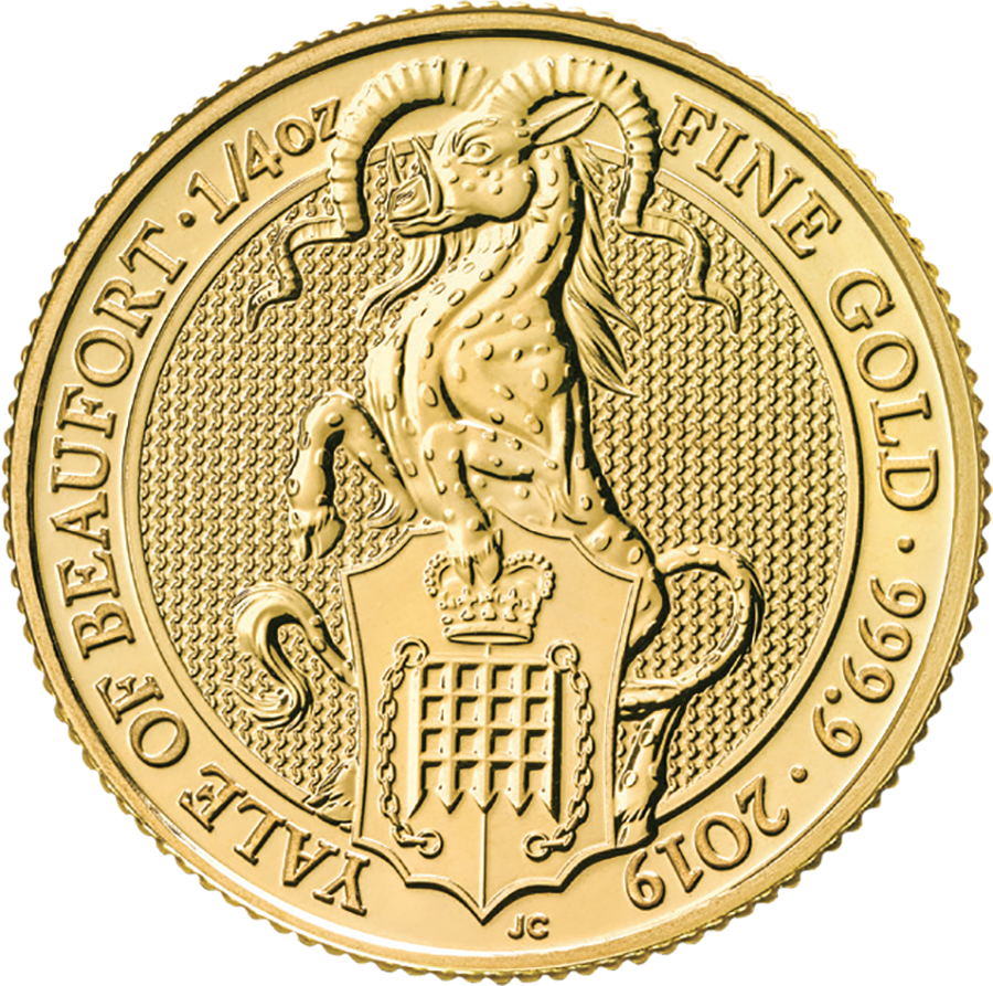 Pre-Owned 2019 UK Queen's Beasts The Yale of Beaufort 1/4oz Gold Coin (Image 1)