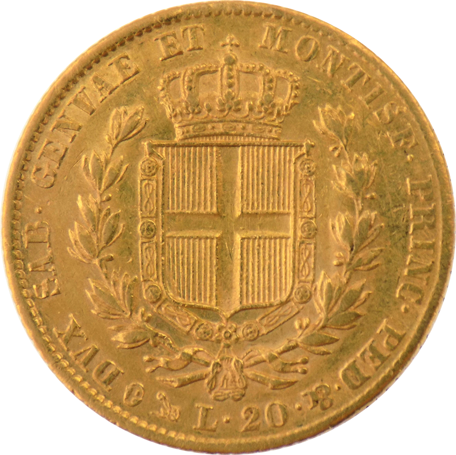 Pre-Owned 1841 Kingdom of Sardinia 20 Lira Gold Coin (Image 2)