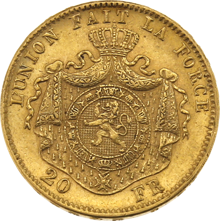 Pre-Owned 1875 Belgium 20 Franc Gold Coin (Image 2)