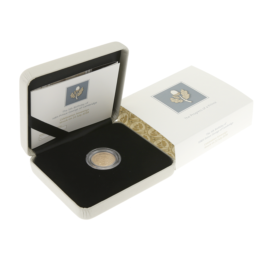 Pre-Owned 2018 UK 5th Birthday of HRH Prince George Brilliant Uncirculated Full Sovereign Gold Coin