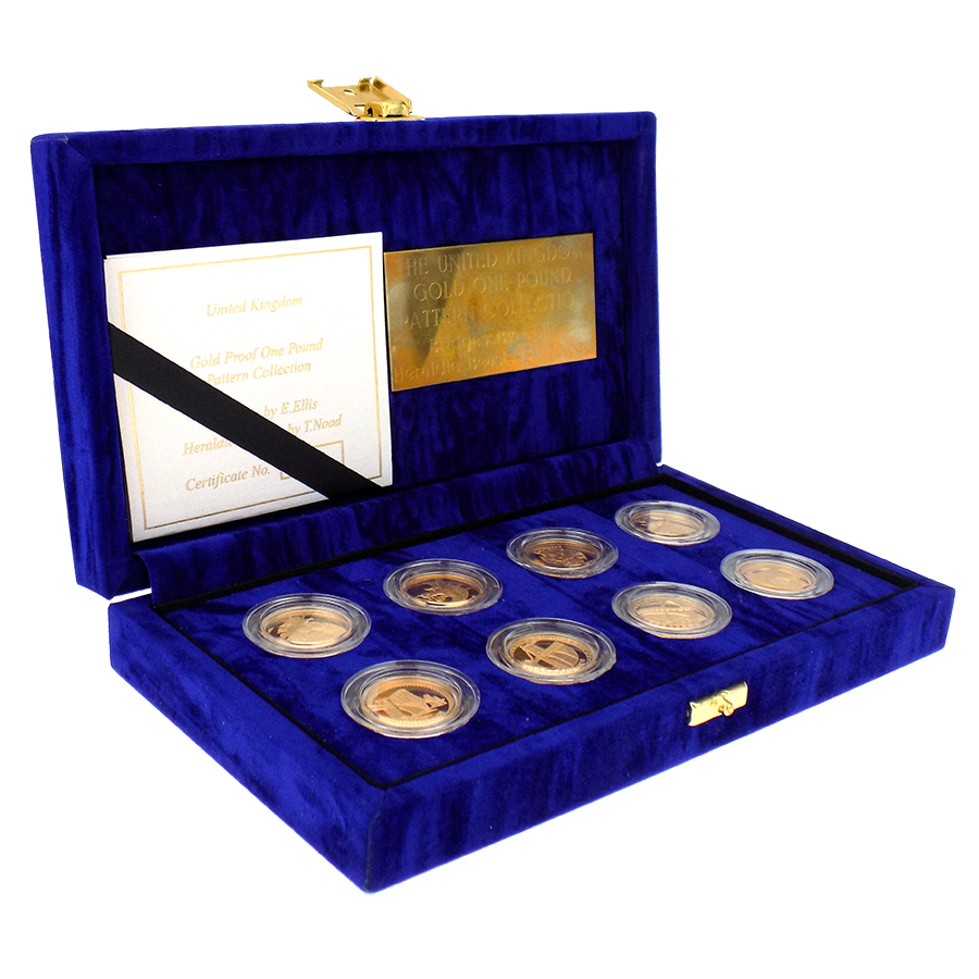 Pre-owned 2003 - 2004 UK Bridges and Heraldic Beasts Gold Proof £1 Pattern 8 Coin Collection
