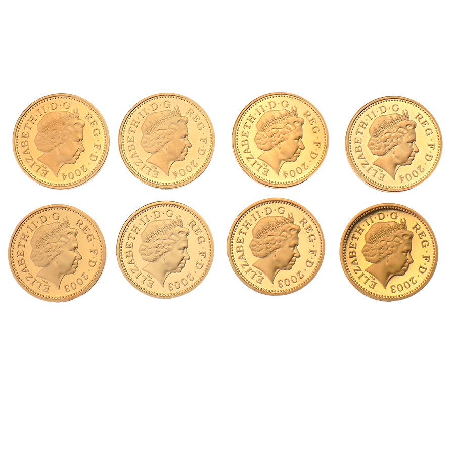 Pre-owned 2003 - 2004 UK Bridges and Heraldic Beasts Gold Proof £1 Pattern 8 Coin Collection (Image 3)