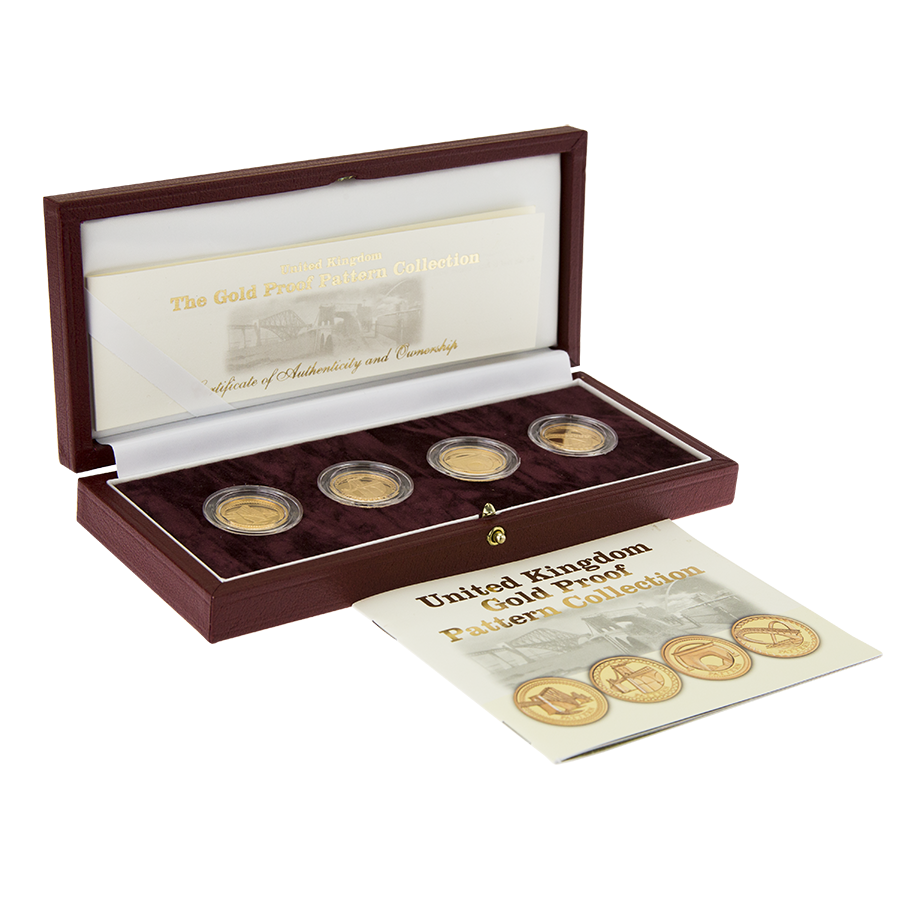 Pre-Owned 2003 UK Bridges Pattern Gold Proof 4-Coin Set