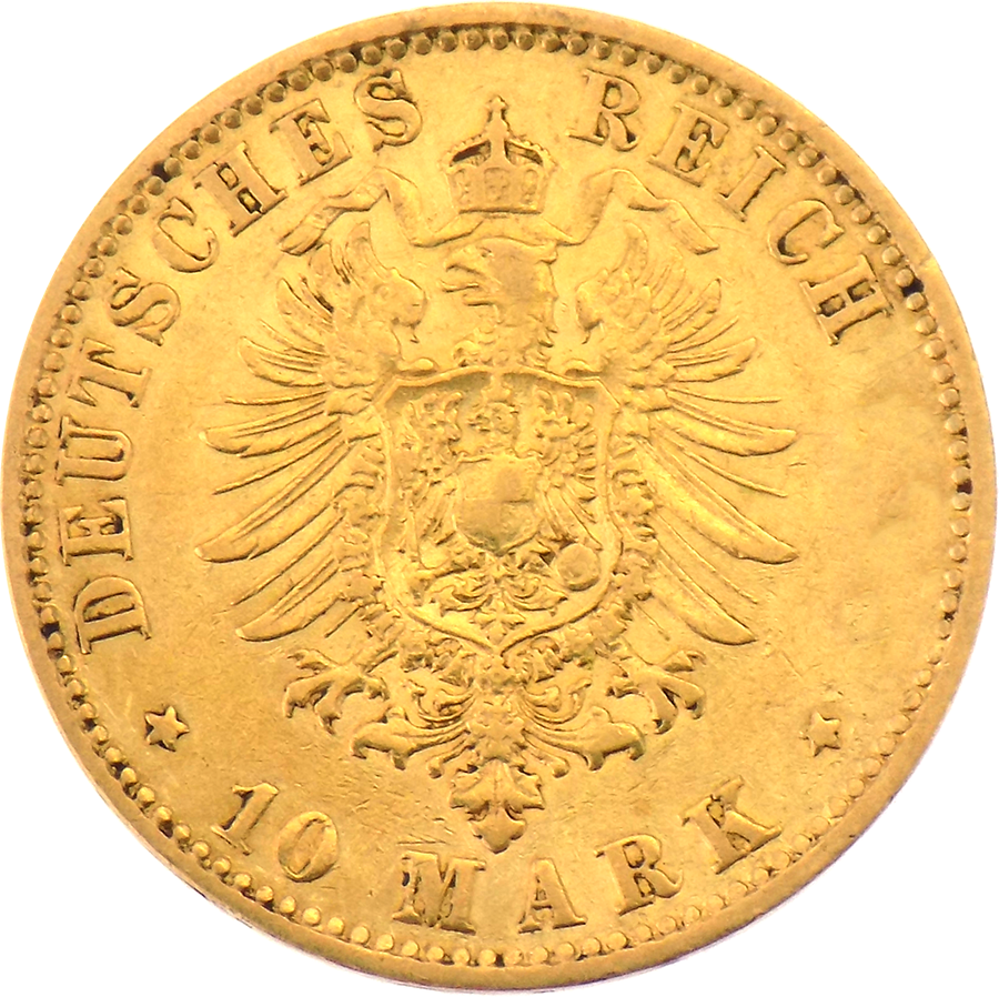 Pre-owned 10 Mark German Hamburg States Gold Coin - Mixed Dates