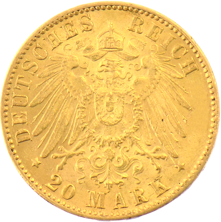 Pre-owned 20 Mark German Hamburg States Gold Coin - Mixed Dates