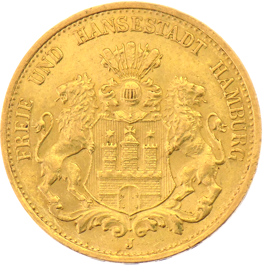 Pre-owned 20 Mark German Hamburg States Gold Coin - Mixed Dates (Image 2)