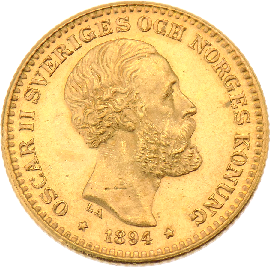 Pre-Owned 1894 Sweden 10 Kronor Gold Coin