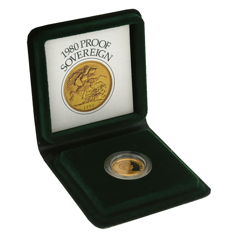 Pre-Owned 1980 UK Full Sovereign Proof Gold Coin (Image 1)
