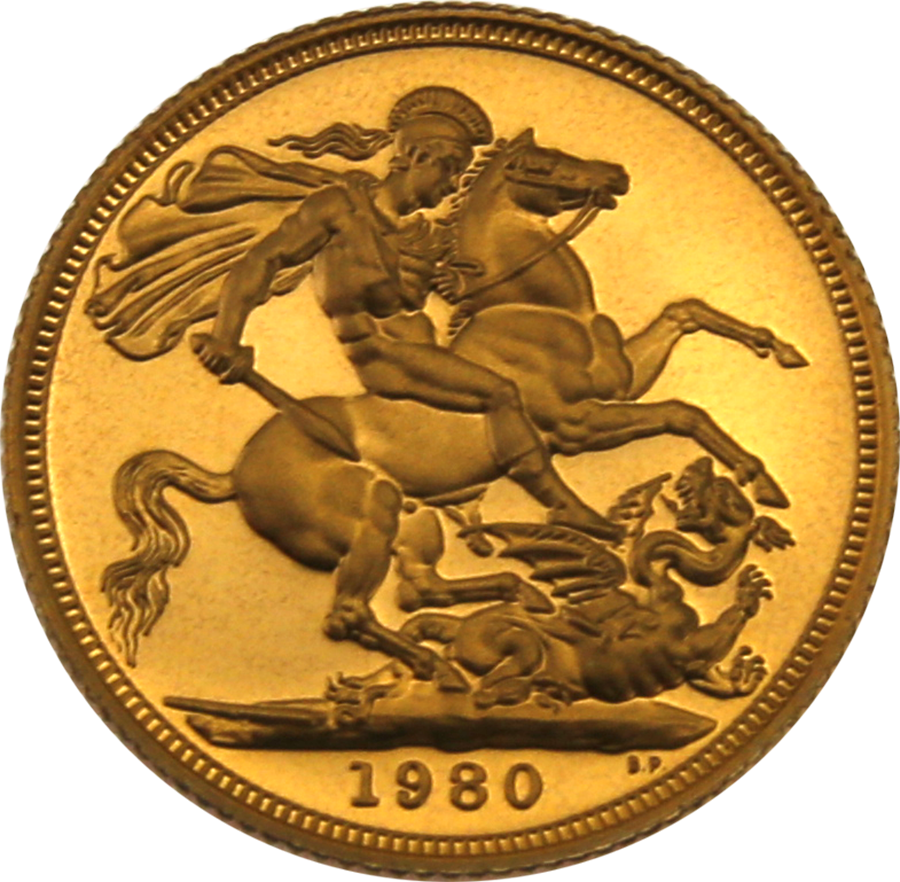 Pre-Owned 1980 UK Full Sovereign Proof Gold Coin (Image 3)