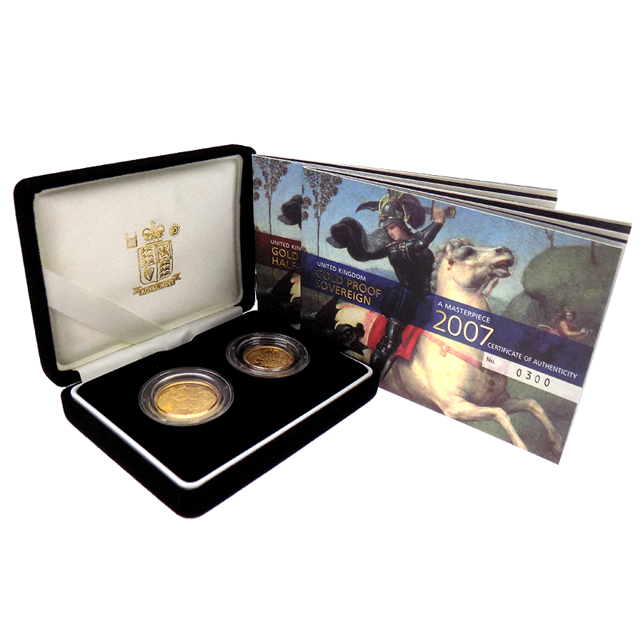 Pre-Owned 2007 UK Full And Half Proof Gold Sovereign Set