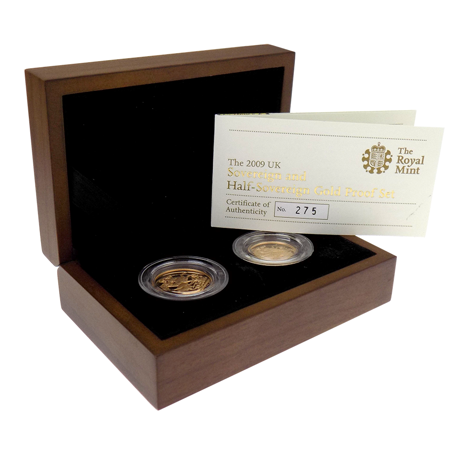 Pre-Owned 2009 UK Full & Half Sovereign Proof Gold Coin Set