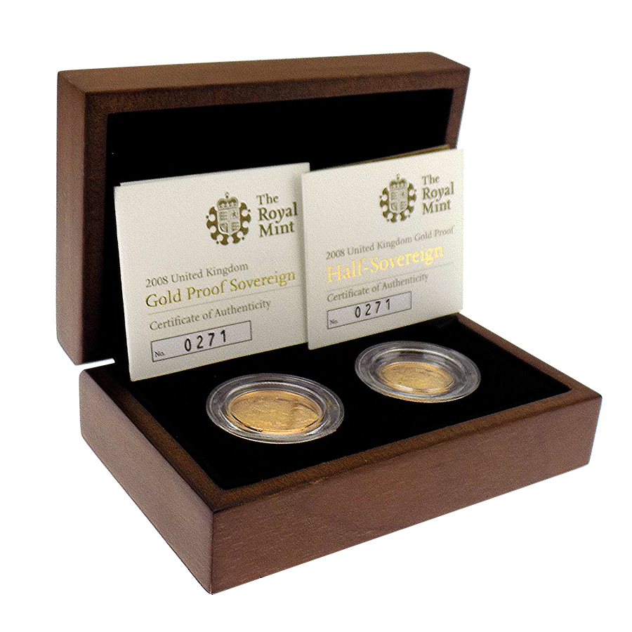 Pre-Owned 2008 UK Full & Half Sovereign Proof Gold Coin Set