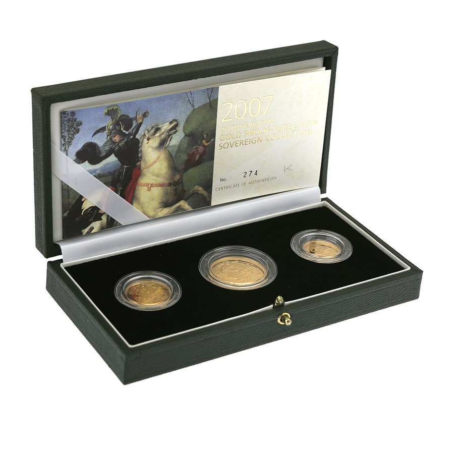 Pre-Owned 2007 UK Double, Full & Half Sovereign Proof Gold 3-Coin Collection