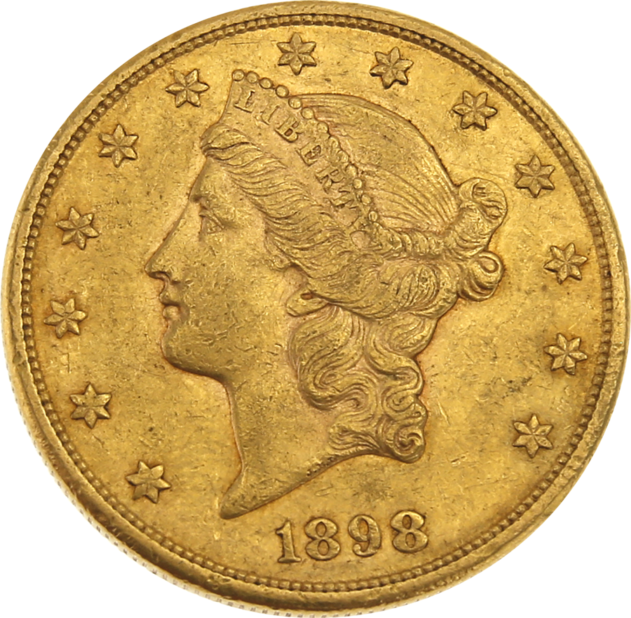 Pre-Owned 1898 USA $20 Double Eagle Gold Coin